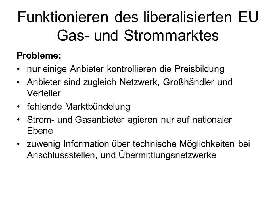 Funktionieren des liberalisierten EU Gas- und Strommarktes Probleme: nur einige Anbieter kontrollieren die Preisbildung Anbieter sind zugleich Netzwer