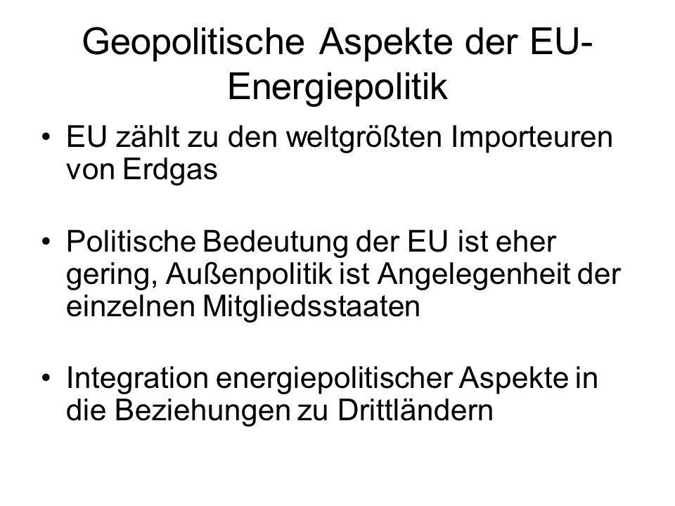 Geopolitische Aspekte der EU- Energiepolitik EU zählt zu den weltgrößten Importeuren von Erdgas Politische Bedeutung der EU ist eher gering, Außenpoli