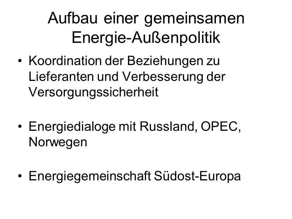 Aufbau einer gemeinsamen Energie-Außenpolitik Koordination der Beziehungen zu Lieferanten und Verbesserung der Versorgungssicherheit Energiedialoge mi