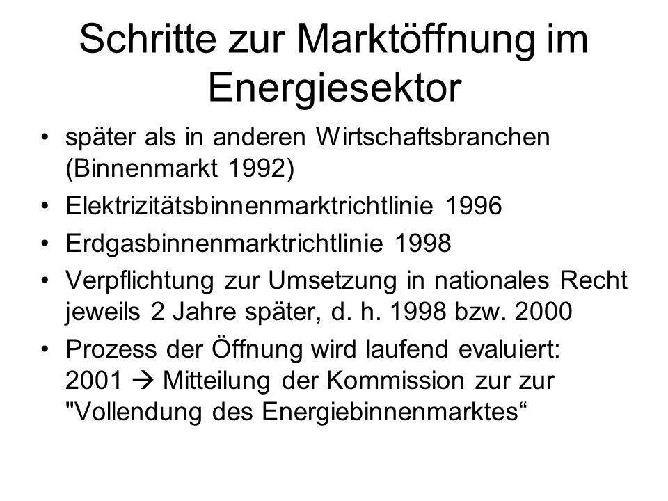 Schritte zur Marktöffnung im Energiesektor später als in anderen Wirtschaftsbranchen (Binnenmarkt 1992) Elektrizitätsbinnenmarktrichtlinie 1996 Erdgas