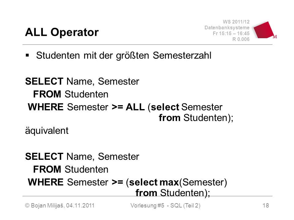 WS 2011/12 Datenbanksysteme Fr 15:15 – 16:45 R 0.006 © Bojan Milijaš, 04.11.2011Vorlesung #5 - SQL (Teil 2)18 ALL Operator Studenten mit der größten Semesterzahl SELECT Name, Semester FROM Studenten WHERE Semester >= ALL (select Semester from Studenten); äquivalent SELECT Name, Semester FROM Studenten WHERE Semester >= (select max(Semester) from Studenten);