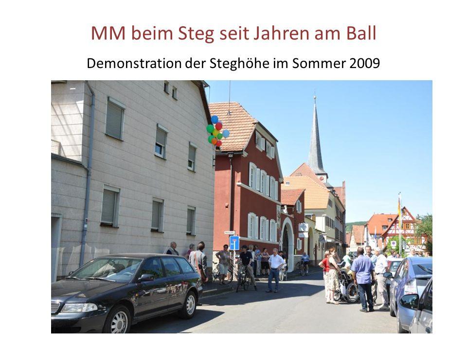 MM beim Steg seit Jahren am Ball Demonstration der Steghöhe im Sommer 2009