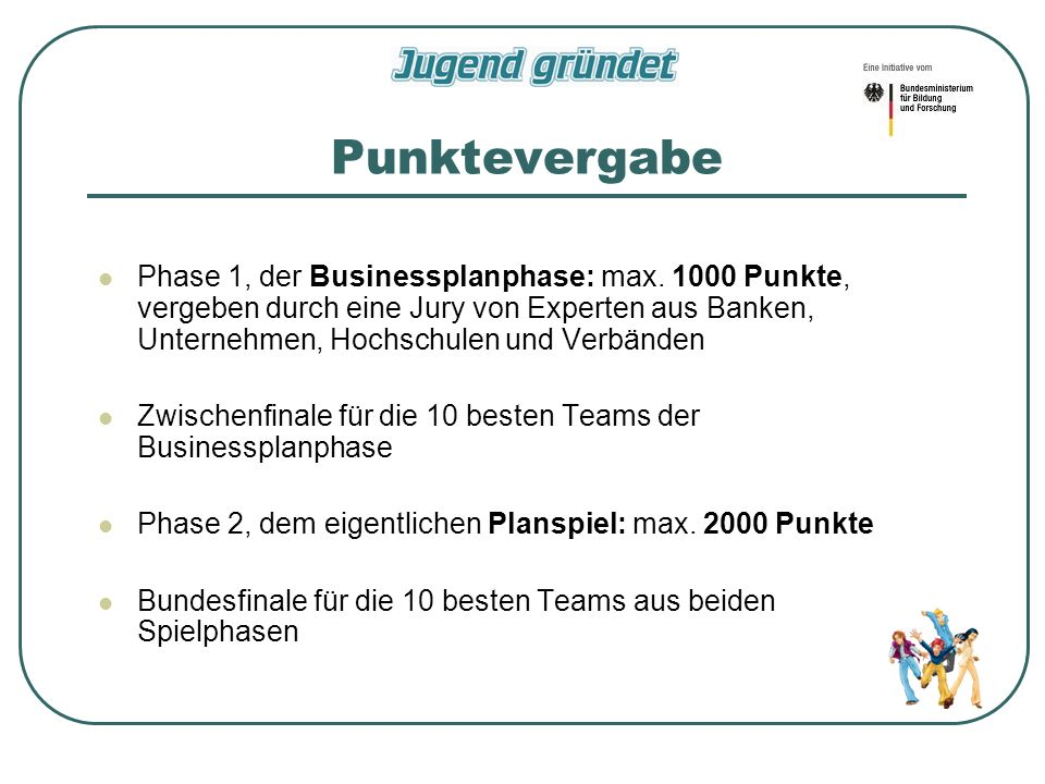 Punktevergabe Phase 1, der Businessplanphase: max.