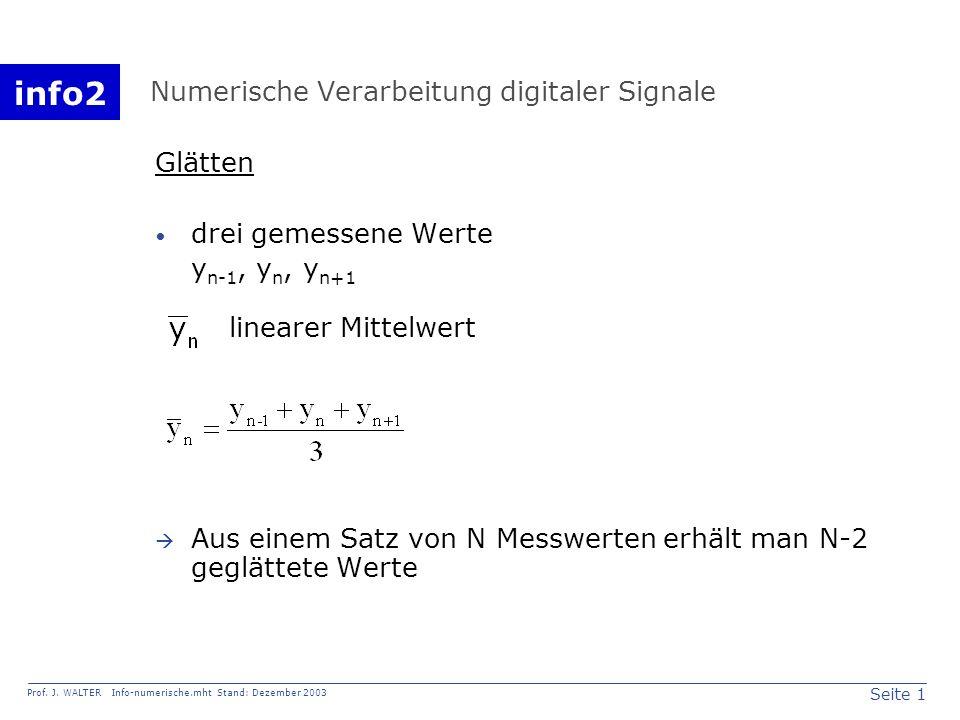 info2 Prof. J. WALTER Info-numerische.mht Stand: Dezember 2003 Seite 1 Numerische Verarbeitung digitaler Signale Glätten drei gemessene Werte y n-1, y