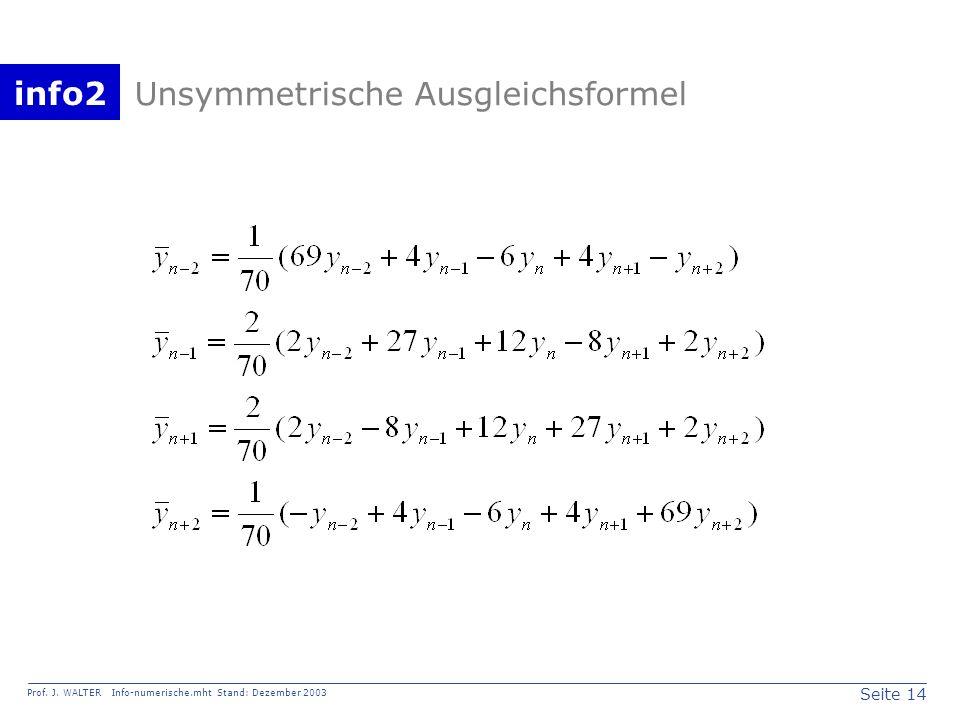 info2 Prof. J. WALTER Info-numerische.mht Stand: Dezember 2003 Seite 14 Unsymmetrische Ausgleichsformel