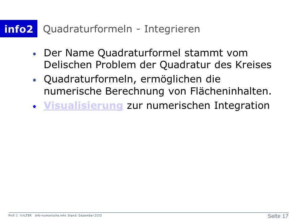 info2 Prof. J. WALTER Info-numerische.mht Stand: Dezember 2003 Seite 17 Quadraturformeln - Integrieren Der Name Quadraturformel stammt vom Delischen P