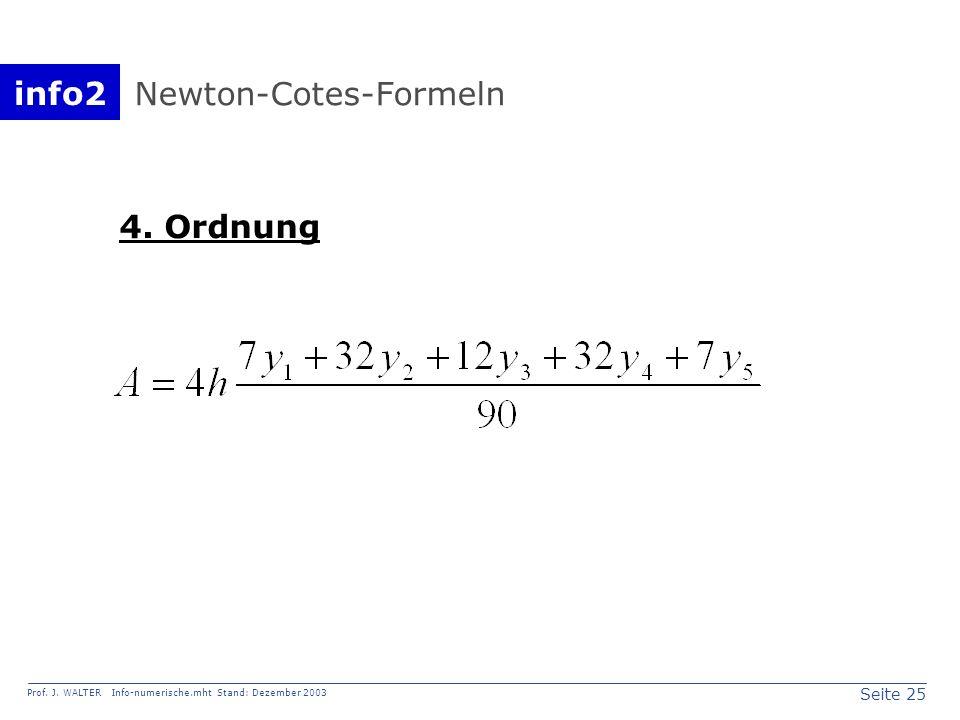 info2 Prof. J. WALTER Info-numerische.mht Stand: Dezember 2003 Seite 25 Newton-Cotes-Formeln 4. Ordnung