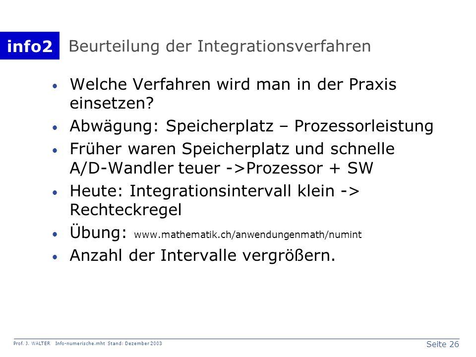 info2 Prof. J. WALTER Info-numerische.mht Stand: Dezember 2003 Seite 26 Beurteilung der Integrationsverfahren Welche Verfahren wird man in der Praxis
