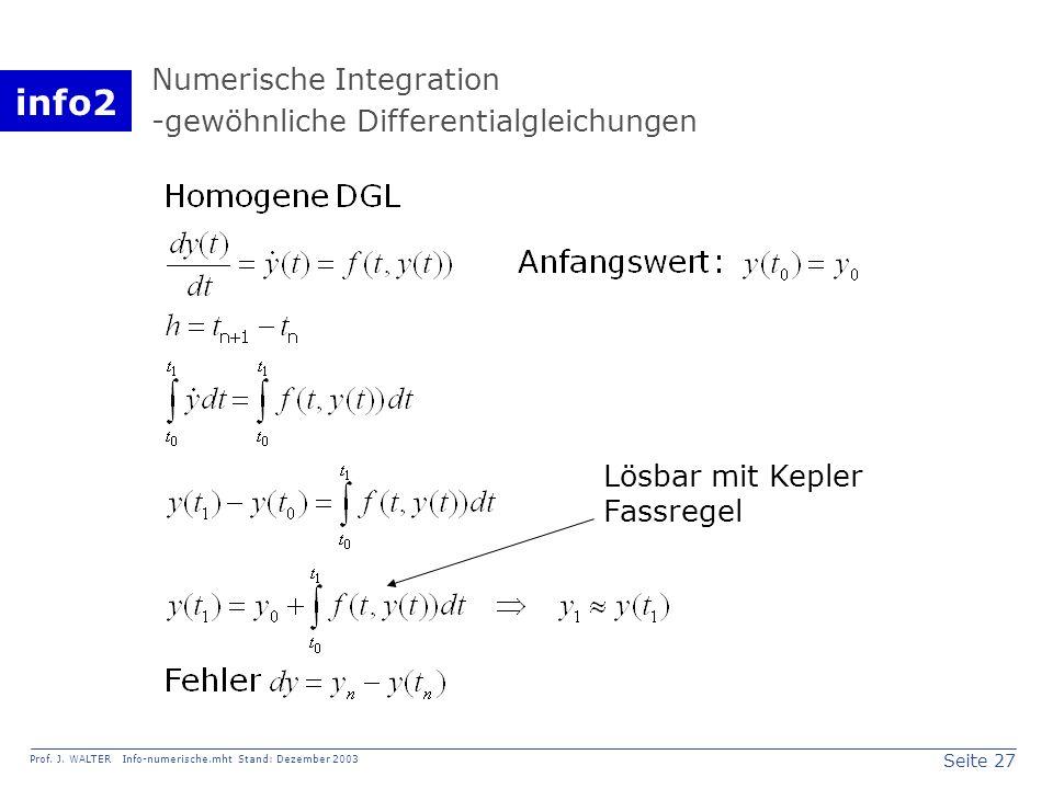info2 Prof. J. WALTER Info-numerische.mht Stand: Dezember 2003 Seite 27 Numerische Integration -gewöhnliche Differentialgleichungen Lösbar mit Kepler