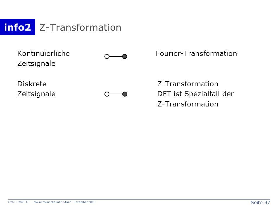 info2 Prof. J. WALTER Info-numerische.mht Stand: Dezember 2003 Seite 37 Z-Transformation Kontinuierliche Fourier-Transformation Zeitsignale DiskreteZ-