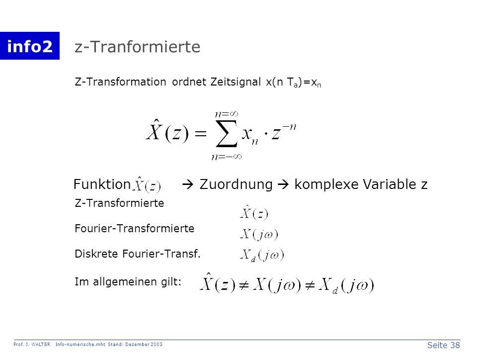 info2 Prof. J. WALTER Info-numerische.mht Stand: Dezember 2003 Seite 38 z-Tranformierte Z-Transformation ordnet Zeitsignal x(n T a )=x n Z-Transformie