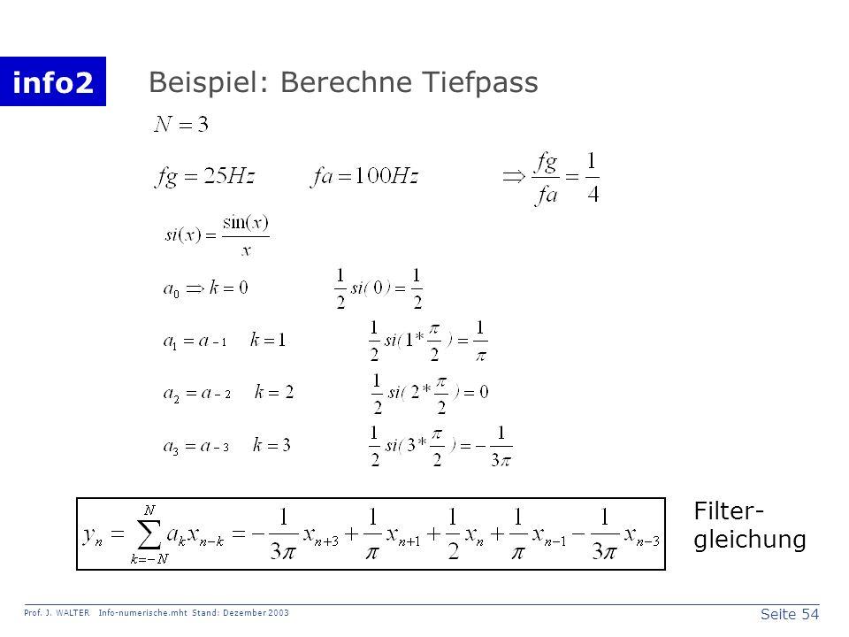 info2 Prof. J. WALTER Info-numerische.mht Stand: Dezember 2003 Seite 54 Beispiel: Berechne Tiefpass Filter- gleichung