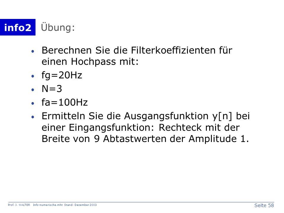 info2 Prof. J. WALTER Info-numerische.mht Stand: Dezember 2003 Seite 58 Übung: Berechnen Sie die Filterkoeffizienten für einen Hochpass mit: fg=20Hz N