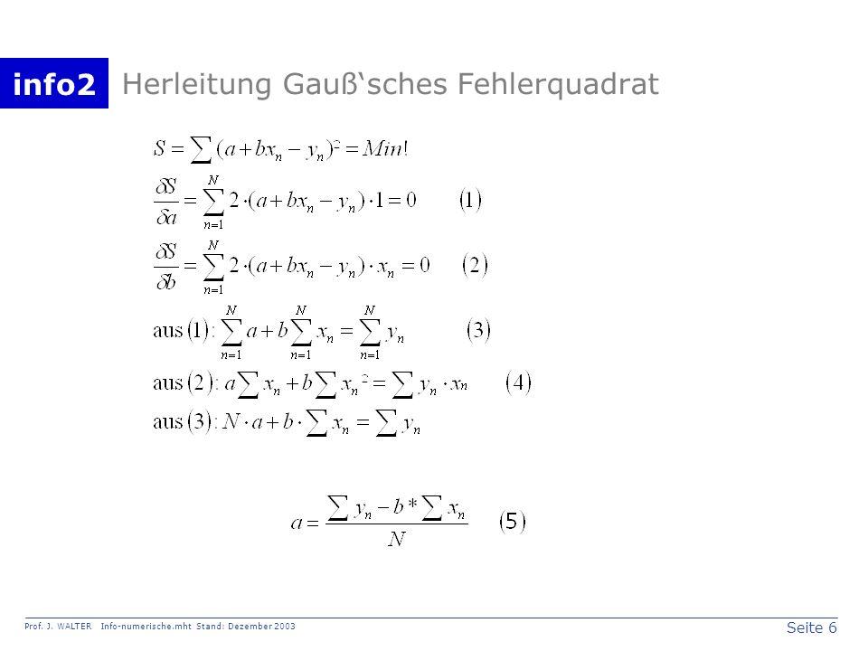 info2 Prof. J. WALTER Info-numerische.mht Stand: Dezember 2003 Seite 6 Herleitung Gaußsches Fehlerquadrat