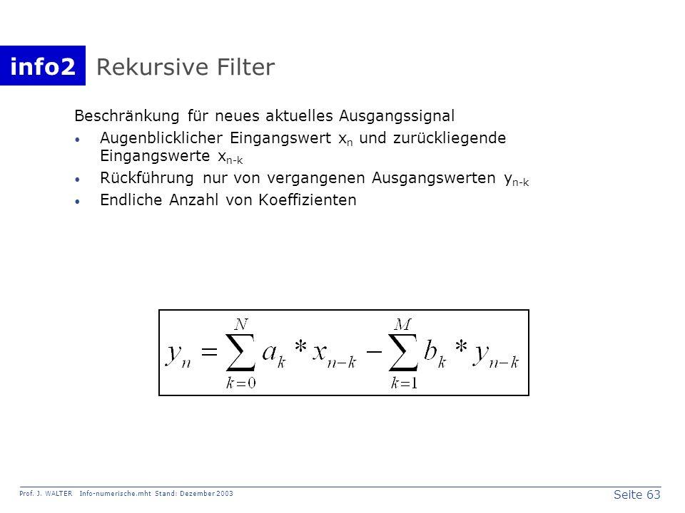 info2 Prof. J. WALTER Info-numerische.mht Stand: Dezember 2003 Seite 63 Rekursive Filter Beschränkung für neues aktuelles Ausgangssignal Augenblicklic