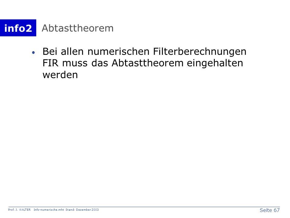 info2 Prof. J. WALTER Info-numerische.mht Stand: Dezember 2003 Seite 67 Abtasttheorem Bei allen numerischen Filterberechnungen FIR muss das Abtasttheo