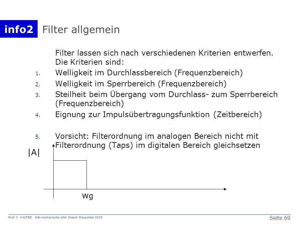 info2 Prof. J. WALTER Info-numerische.mht Stand: Dezember 2003 Seite 69 Filter allgemein Filter lassen sich nach verschiedenen Kriterien entwerfen. Di