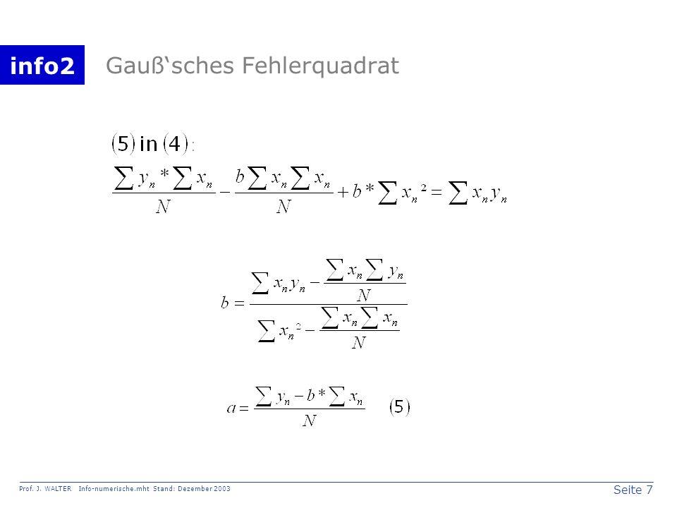 info2 Prof. J. WALTER Info-numerische.mht Stand: Dezember 2003 Seite 7 Gaußsches Fehlerquadrat