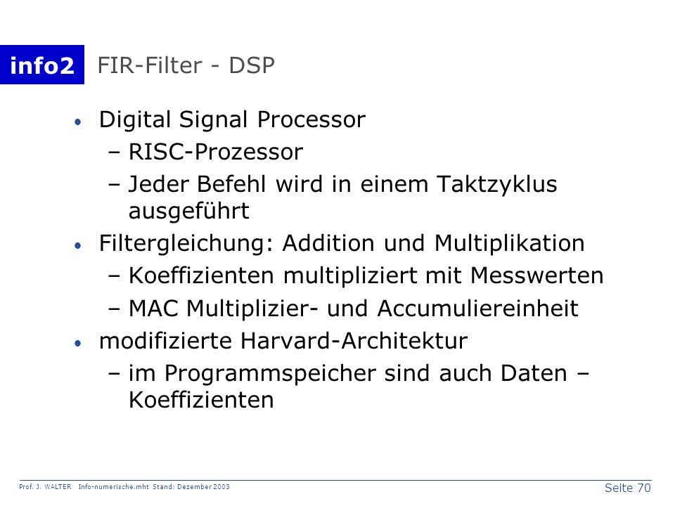 info2 Prof. J. WALTER Info-numerische.mht Stand: Dezember 2003 Seite 70 FIR-Filter - DSP Digital Signal Processor –RISC-Prozessor –Jeder Befehl wird i