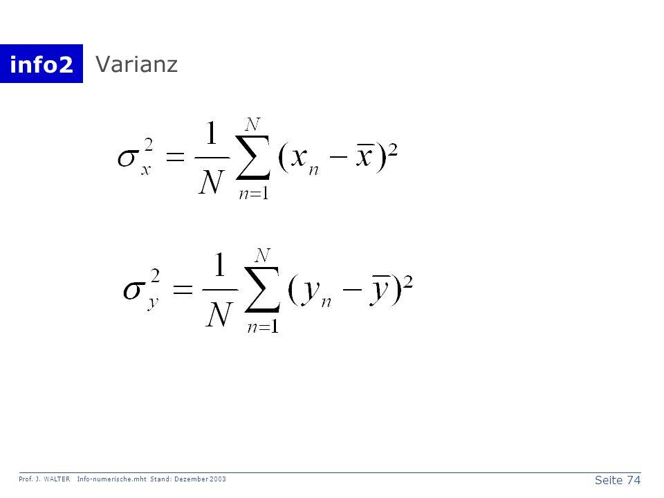 info2 Prof. J. WALTER Info-numerische.mht Stand: Dezember 2003 Seite 74 Varianz