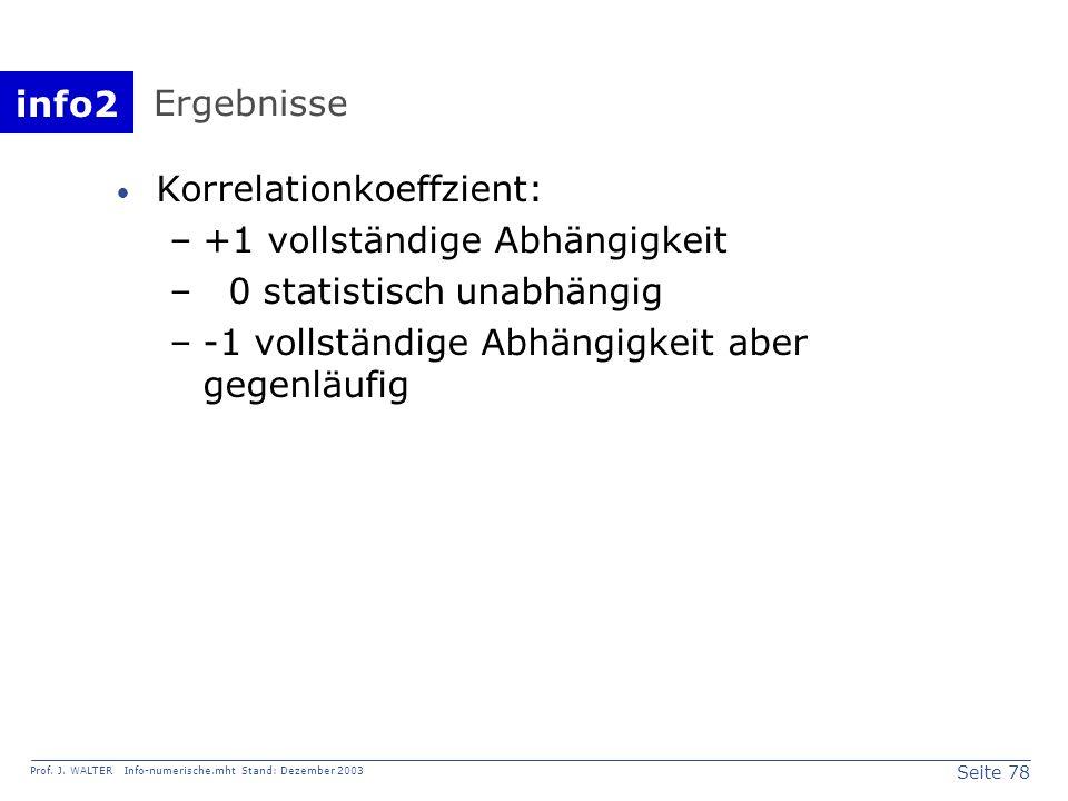 info2 Prof. J. WALTER Info-numerische.mht Stand: Dezember 2003 Seite 78 Ergebnisse Korrelationkoeffzient: –+1 vollständige Abhängigkeit – 0 statistisc