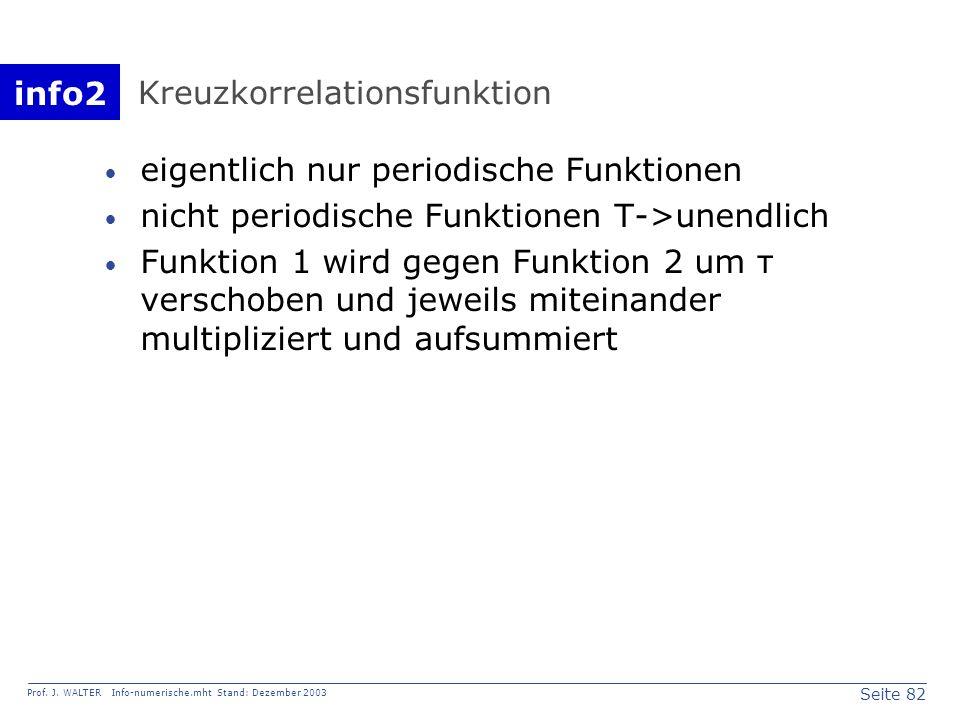 info2 Prof. J. WALTER Info-numerische.mht Stand: Dezember 2003 Seite 82 Kreuzkorrelationsfunktion eigentlich nur periodische Funktionen nicht periodis