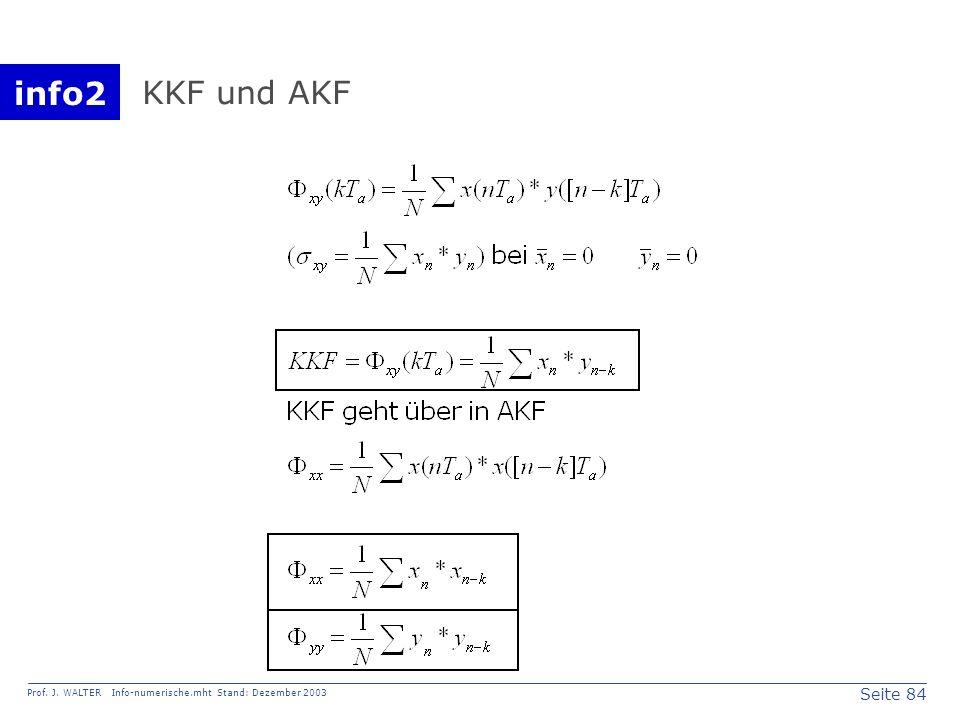 info2 Prof. J. WALTER Info-numerische.mht Stand: Dezember 2003 Seite 84 KKF und AKF