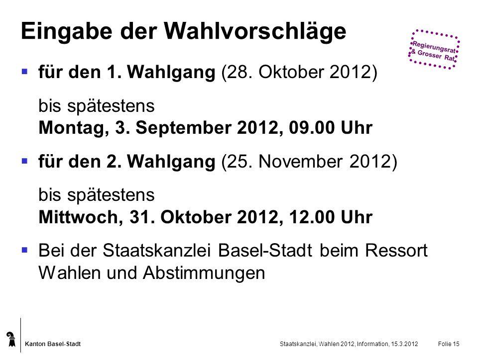 Kanton Basel-Stadt Staatskanzlei, Wahlen 2012, Information, 15.3.2012Folie 15 Eingabe der Wahlvorschläge für den 1. Wahlgang (28. Oktober 2012) bis sp