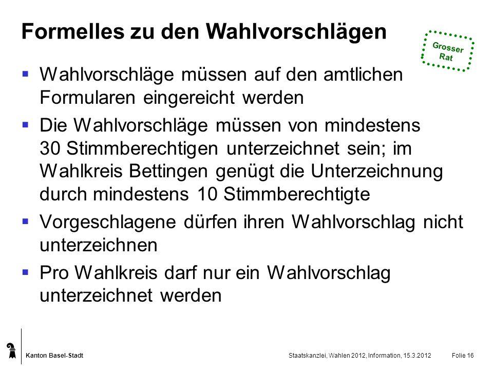 Kanton Basel-Stadt Staatskanzlei, Wahlen 2012, Information, 15.3.2012Folie 16 Formelles zu den Wahlvorschlägen Wahlvorschläge müssen auf den amtlichen