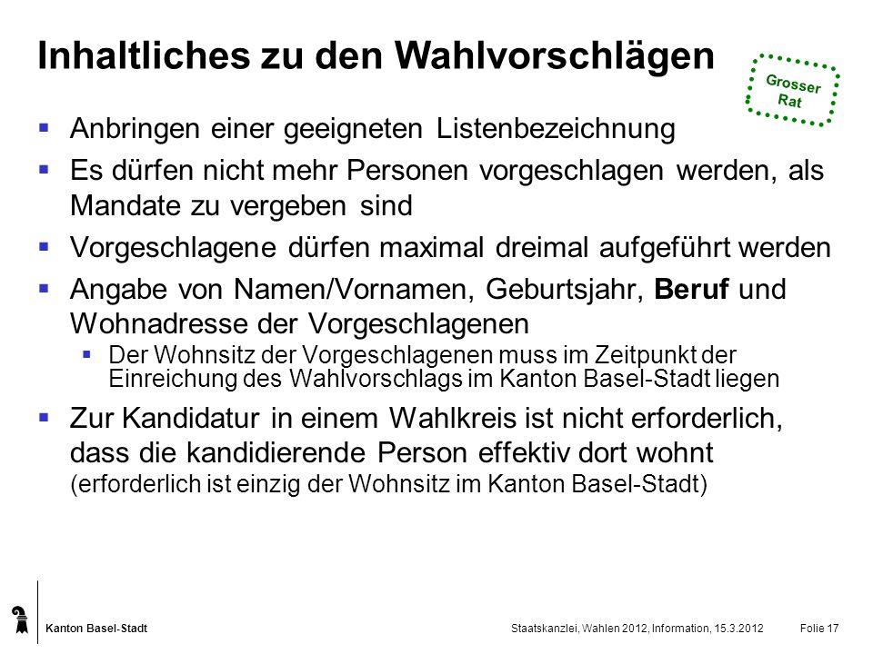 Kanton Basel-Stadt Staatskanzlei, Wahlen 2012, Information, 15.3.2012Folie 17 Inhaltliches zu den Wahlvorschlägen Anbringen einer geeigneten Listenbez