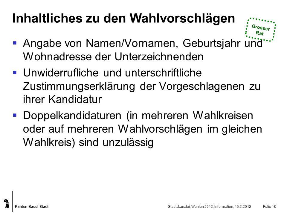 Kanton Basel-Stadt Staatskanzlei, Wahlen 2012, Information, 15.3.2012Folie 18 Inhaltliches zu den Wahlvorschlägen Angabe von Namen/Vornamen, Geburtsja