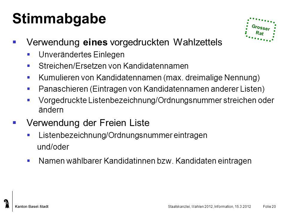 Kanton Basel-Stadt Staatskanzlei, Wahlen 2012, Information, 15.3.2012Folie 20 Stimmabgabe Verwendung eines vorgedruckten Wahlzettels Unverändertes Ein