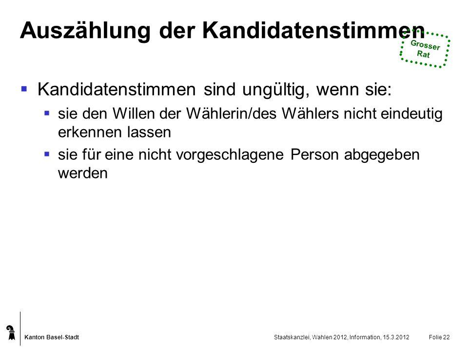 Kanton Basel-Stadt Staatskanzlei, Wahlen 2012, Information, 15.3.2012Folie 22 Auszählung der Kandidatenstimmen Kandidatenstimmen sind ungültig, wenn s