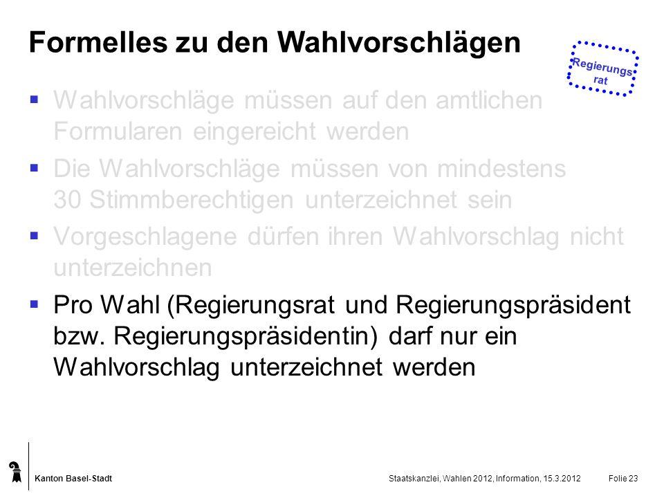 Kanton Basel-Stadt Staatskanzlei, Wahlen 2012, Information, 15.3.2012Folie 23 Formelles zu den Wahlvorschlägen Wahlvorschläge müssen auf den amtlichen