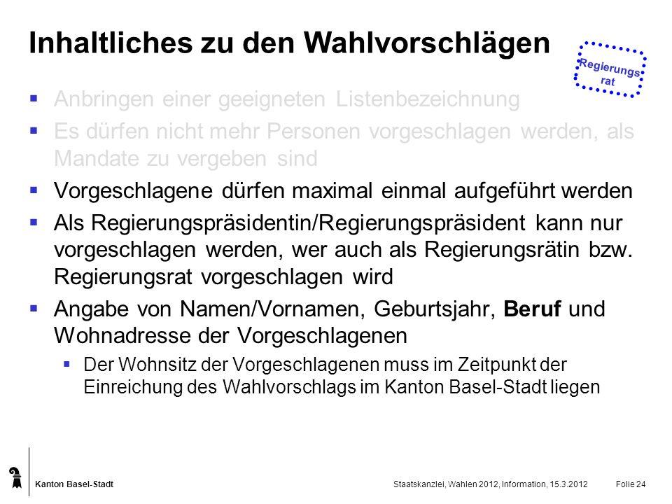 Kanton Basel-Stadt Staatskanzlei, Wahlen 2012, Information, 15.3.2012Folie 24 Inhaltliches zu den Wahlvorschlägen Anbringen einer geeigneten Listenbez