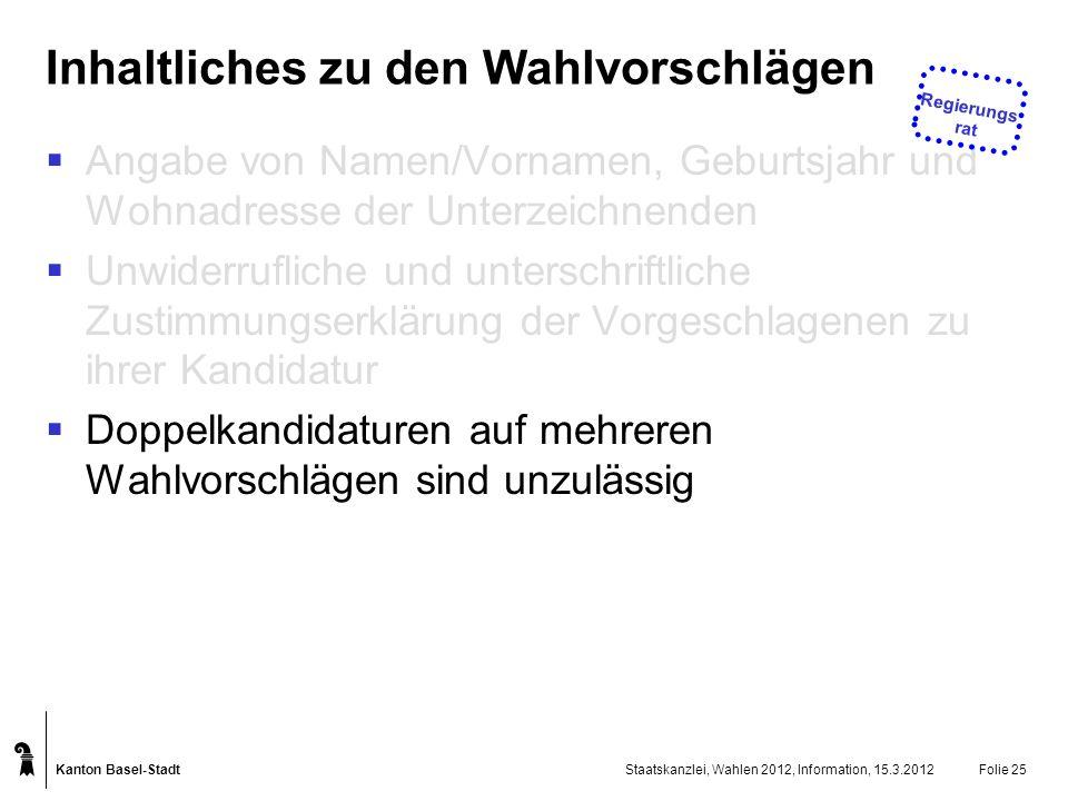 Kanton Basel-Stadt Staatskanzlei, Wahlen 2012, Information, 15.3.2012Folie 25 Inhaltliches zu den Wahlvorschlägen Angabe von Namen/Vornamen, Geburtsja
