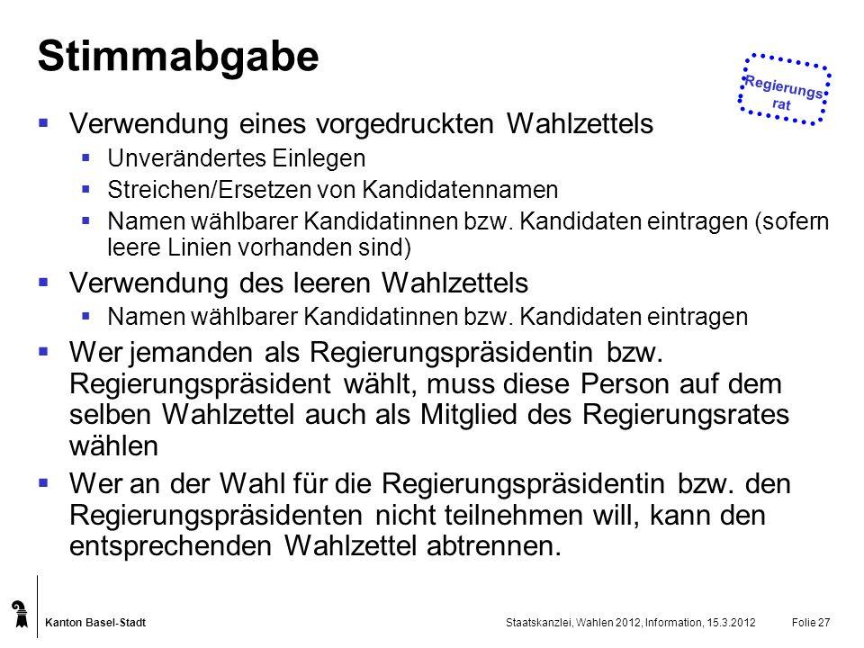 Kanton Basel-Stadt Staatskanzlei, Wahlen 2012, Information, 15.3.2012Folie 27 Stimmabgabe Verwendung eines vorgedruckten Wahlzettels Unverändertes Ein