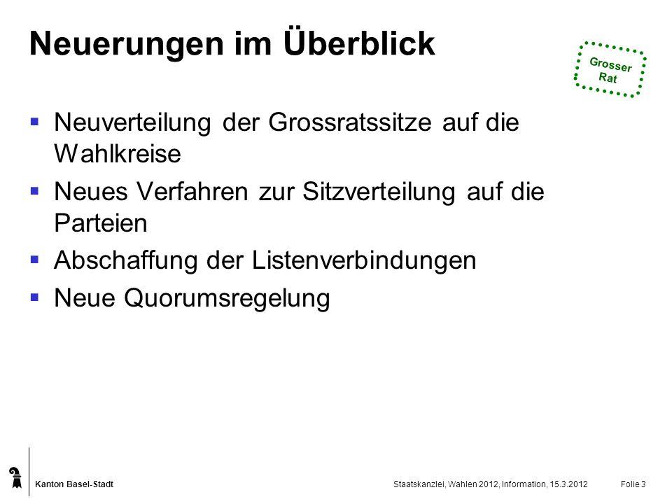 Kanton Basel-Stadt Staatskanzlei, Wahlen 2012, Information, 15.3.2012Folie 14 Einstufiges Verfahren: Was wird neu.
