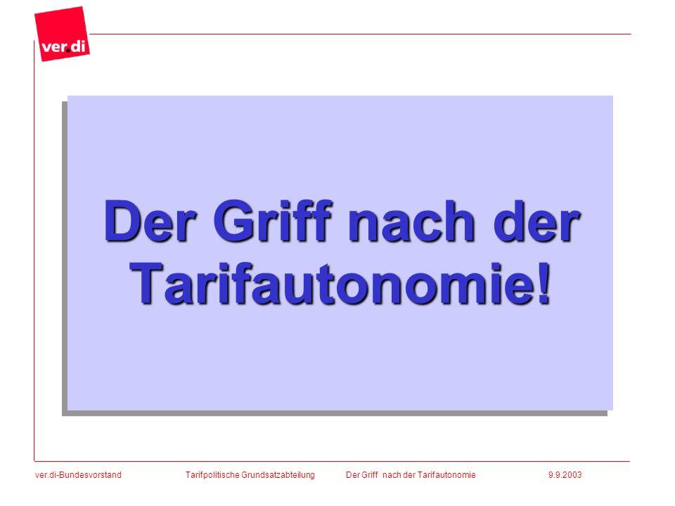 ver.di-Bundesvorstand Der Griff nach der Tarifautonomie! Tarifpolitische Grundsatzabteilung Der Griff nach der Tarifautonomie 9.9.2003