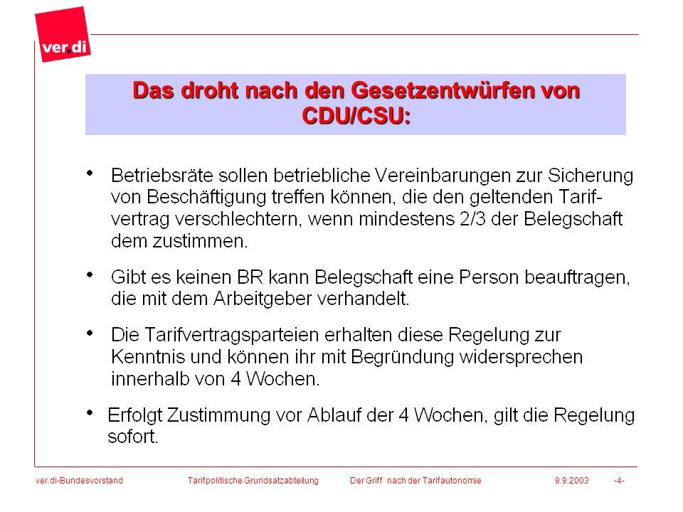 ver.di-Bundesvorstand Das droht nach den Gesetzentwürfen von CDU/CSU: Tarifpolitische Grundsatzabteilung Der Griff nach der Tarifautonomie 9.9.2003 -4