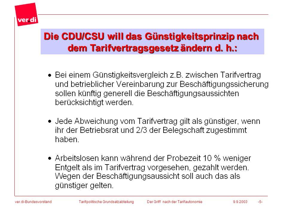 ver.di-Bundesvorstand Tarifpolitische Grundsatzabteilung Der Griff nach der Tarifautonomie 9.9.2003 -5- Die CDU/CSU will das Günstigkeitsprinzip nach