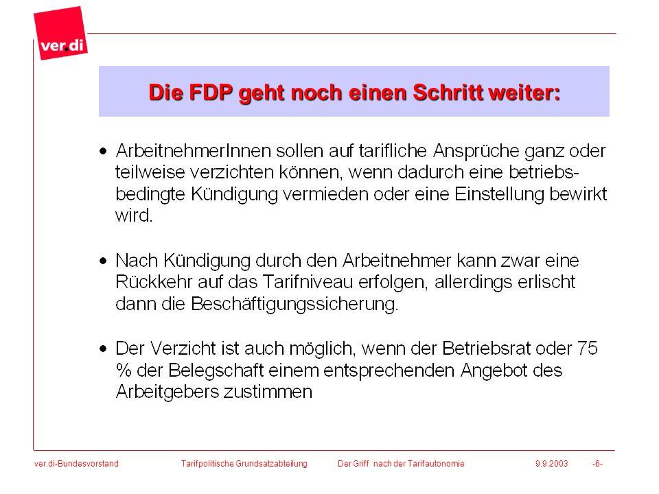 ver.di-Bundesvorstand Tarifpolitische Grundsatzabteilung Der Griff nach der Tarifautonomie 9.9.2003 -6- Die FDP geht noch einen Schritt weiter: