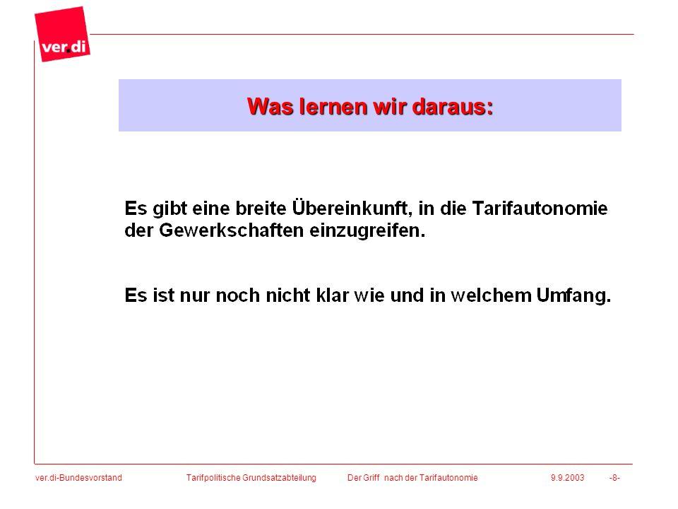 ver.di-Bundesvorstand Tarifpolitische Grundsatzabteilung Der Griff nach der Tarifautonomie 9.9.2003 -8- Was lernen wir daraus: