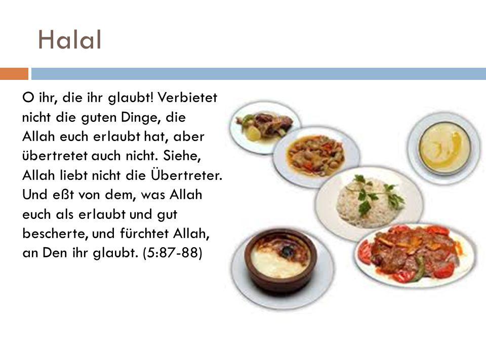 Halal O ihr, die ihr glaubt! Verbietet nicht die guten Dinge, die Allah euch erlaubt hat, aber übertretet auch nicht. Siehe, Allah liebt nicht die Übe