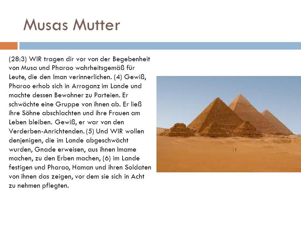 Musas Mutter (28:3) WIR tragen dir vor von der Begebenheit von Musa und Pharao wahrheitsgemäß für Leute, die den Iman verinnerlichen. (4) Gewiß, Phara