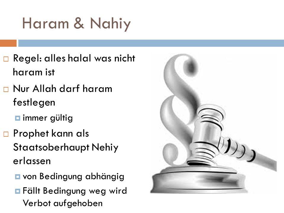 Haram & Nahiy Regel: alles halal was nicht haram ist Nur Allah darf haram festlegen immer gültig Prophet kann als Staatsoberhaupt Nehiy erlassen von B