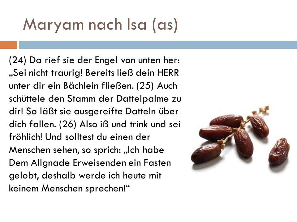 Maryam nach Isa (as) (24) Da rief sie der Engel von unten her: Sei nicht traurig! Bereits ließ dein HERR unter dir ein Bächlein fließen. (25) Auch sch
