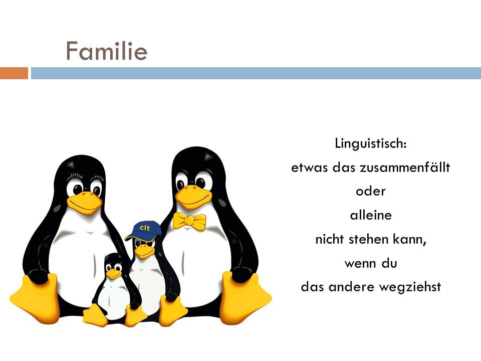 Familie Linguistisch: etwas das zusammenfällt oder alleine nicht stehen kann, wenn du das andere wegziehst