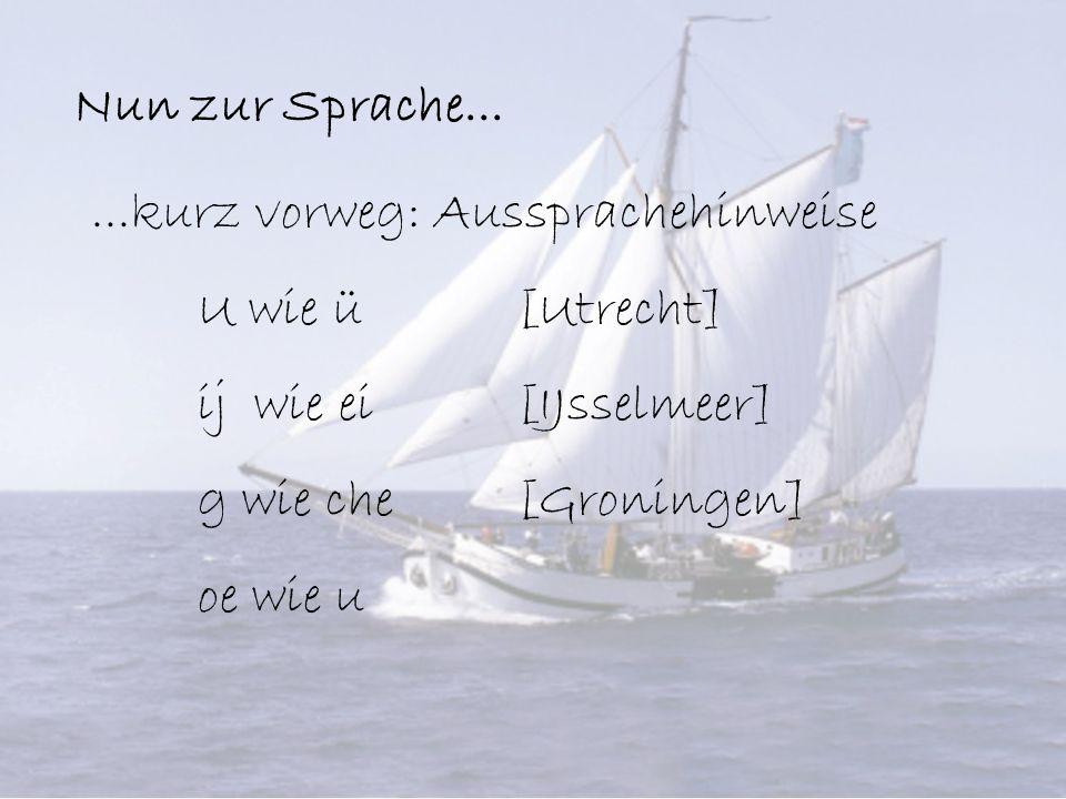 Nun zur Sprache......kurz vorweg: Aussprachehinweise U wie ü [Utrecht] ij wie ei [IJsselmeer] g wie che [Groningen] oe wie u