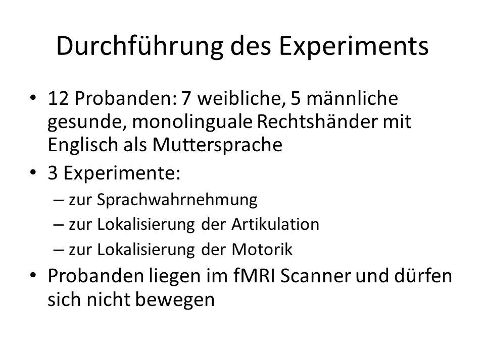 Durchführung des Experiments 12 Probanden: 7 weibliche, 5 männliche gesunde, monolinguale Rechtshänder mit Englisch als Muttersprache 3 Experimente: –